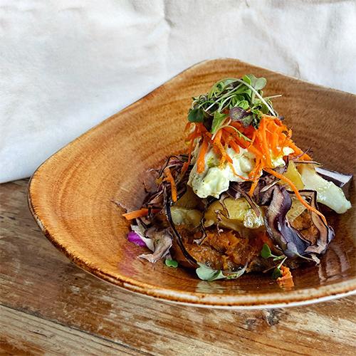 Ensalada de batata y patata con alioli de Superchulo