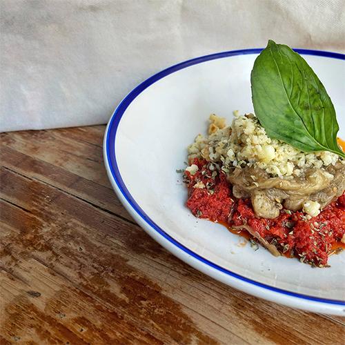 Parmigiana con pesto rojo de Superchulo